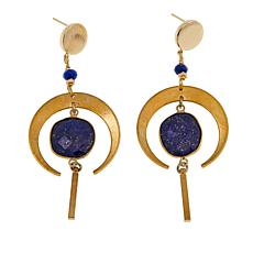 Nakamol Simulated Lapis Crescent Moon Drop Earrings