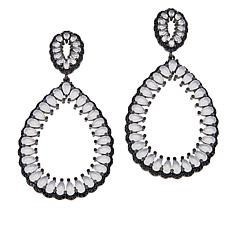 Natalie Mills Black and White Stone Pear Drop Earrings