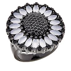 Natalie Mills Black and White Stone Round Flower Ring