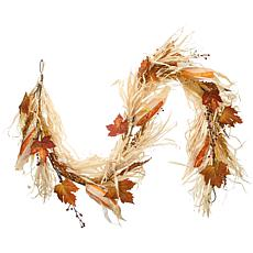 National Tree Company 6' Harvest Raffia Garland with Maple Leaves