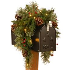 "National Tree Feel Real® 36"" Colonial Mail Box Swag w 15 White Lights"