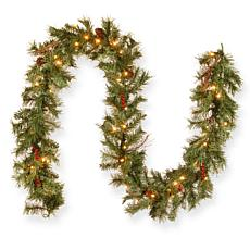 National Tree Glistening Pine Garland w Cones,Berries&Twigs- 50 Lights