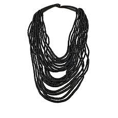 Natural Beauties Black Coconut Shell & Horn Necklace