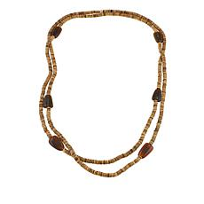 "Natural Beauties Brown Coconut Shell and Buffalo Horn 80"" Necklace"