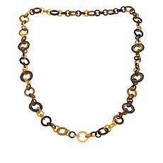 "Natural Beauties Buffalo Horn and Crystal Link 34"" Necklace"