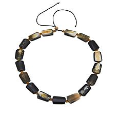 "Natural Beauties Buffalo Horn Rectangular and Round 24"" Necklace"