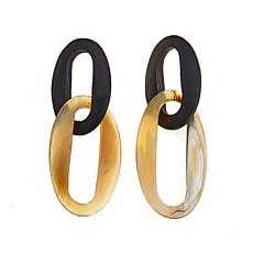 Natural Beauties Cattle Horn and Ebony Oval-Link Drop Earrings