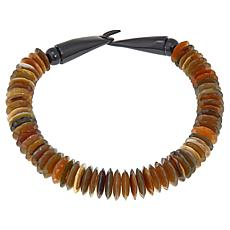 Natural Beauties Disc-Shaped Buffalo Horn 23 Necklace