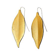 Natural Beauties Ebony Wood Gold Foil Leaf Drop Earrings