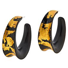 Natural Beauties Ebony Wood Goldtone Leaf Hoop Earrings