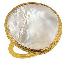Natural Beauties Goldtone Sterling Silver Mother-of-Pearl Ring