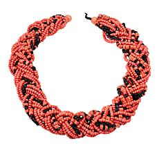 Natural Beauties Pink Coconut Shell and Wood Bead Braided Necklace