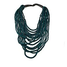 Natural Beauties Spruce Green Coconut Shell and Buffalo Horn Necklace