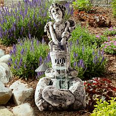 Navarro LED Lighted Outdoor Cherub Fountain with Pump