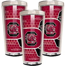 NCAA Acrylic & Stainless Steel 3-piece Shot Glass Set -