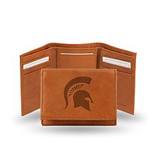 NCAA Embossed Leather Trifold Wallet - Michigan State
