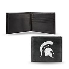 NCAA Embroidered Leather Billfold Wallet - Michigan State