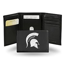 NCAA Embroidered Leather Trifold Wallet - Michigan State