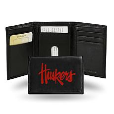NCAA Embroidered Leather Trifold Wallet - Nebraska
