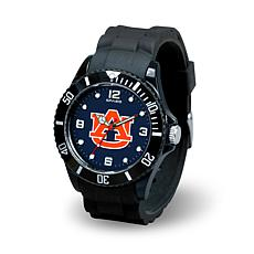 NCAA Team Logo Spirit Black Rubber Strap Sports Watch - Auburn