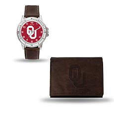NCAA Team Logo Watch and Wallet Combo Gift Set in Brown - Oklahoma
