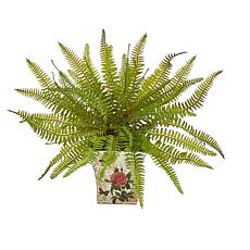 """Nearly Natural 11"""" Fern Artificial Plant in Floral Planter"""