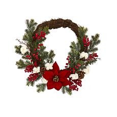 "Nearly Natural 19"" Poinsettia with Berries & Cotton Artificial Wreath"