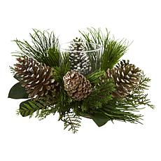 "Nearly Natural 21"" Pine Cone & Pine Artificial Arrangement Candelabrum"