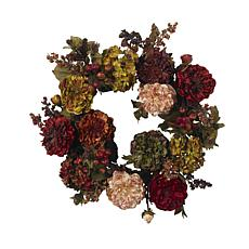 "Nearly Natural 22"" Autumn Hydrangea Peony Wreath"
