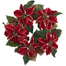 "Nearly Natural 22"" Poinsettia, Pine Cone and Burlap Wreath"