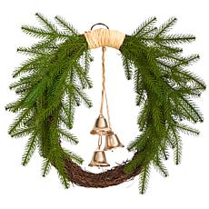 """Nearly Natural 24"""" Holiday Christmas Pine and Hanging Bells Wreath"""