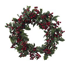 "Nearly Natural 24"" Holly Berry Wreath"
