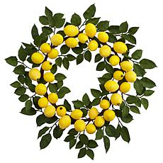 "Nearly Natural 24"" Lemon Wreath"
