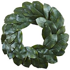 "Nearly Natural 24"" Magnolia Leaf Wreath"