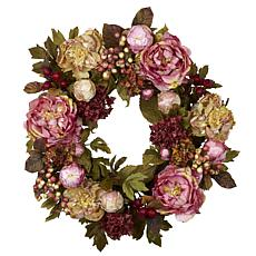 """Nearly Natural 24"""" Peony Hydrangea Wreath"""