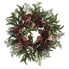 "Nearly Natural 24"" Pine & Pine Cone Wreath with Burlap Bows"