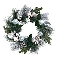 """Nearly Natural 24"""" Pinecones and Berries Christmas Wreath"""