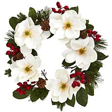 "Nearly Natural 26"" Magnolia, Pine & Berries Wreath"