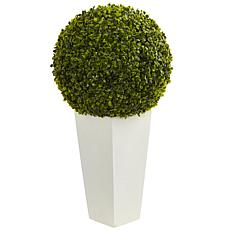 "Nearly Natural 28"" Boxwood Topiary Ball w White Planter Indoor/Outdoor"