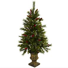 Nearly Natural 4-Ft. Christmas Tree w/Berries, Pine Cones Lights & Urn