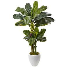 Nearly Natural 5 ft. Double Stalk Banana Tree in White Planter