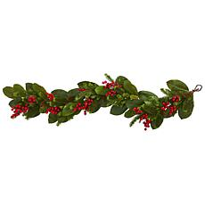 Nearly Natural 5-Ft. Magnolia Berry Pine Artificial Garland