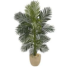 Nearly Natural 5' Golden Cane Artificial Palm Tree Sandstone Planter