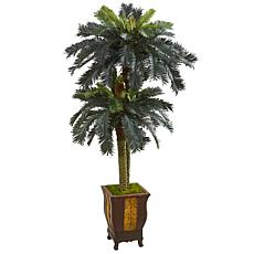 Nearly Natural 6 ft. Artificial Double Sago Palm in Designer Planter