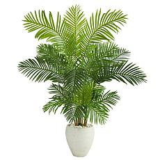 """Nearly Natural 62"""" Hawaii Palm Artificial Tree in White Planter"""