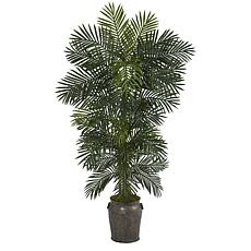 Nearly Natural 6.5' Golden Cane Artificial Palm Tree in Metal Planter