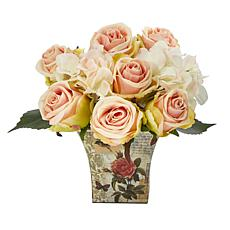 """Nearly Natural 8"""" Rose and Hydrangea Bouquet Artificial Arrangement"""