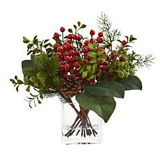 Nearly Natural Berry, Pine & Boxwood Artificial Arrangement