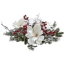 Nearly Natural Frosted Magnolia & Berry Artificial Candelabrum