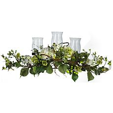 Nearly Natural Silk Hydrangea Triple Candleabrum Centerpiece